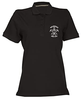 Speed Shirt Polo para Mujer Negro TB0497 Vintage Wild Hog Club ...
