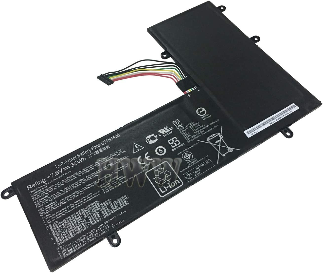 HWW New 7.6V 38Wh C21N1430 Battery Compatible with Asus Chromebook C201PA_C-2B C201PA5 Series
