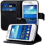kwmobile Housse en cuir synthétique élégante pour Samsung Galaxy Ace 3 avec fermeture aimantée et fonction support en noir