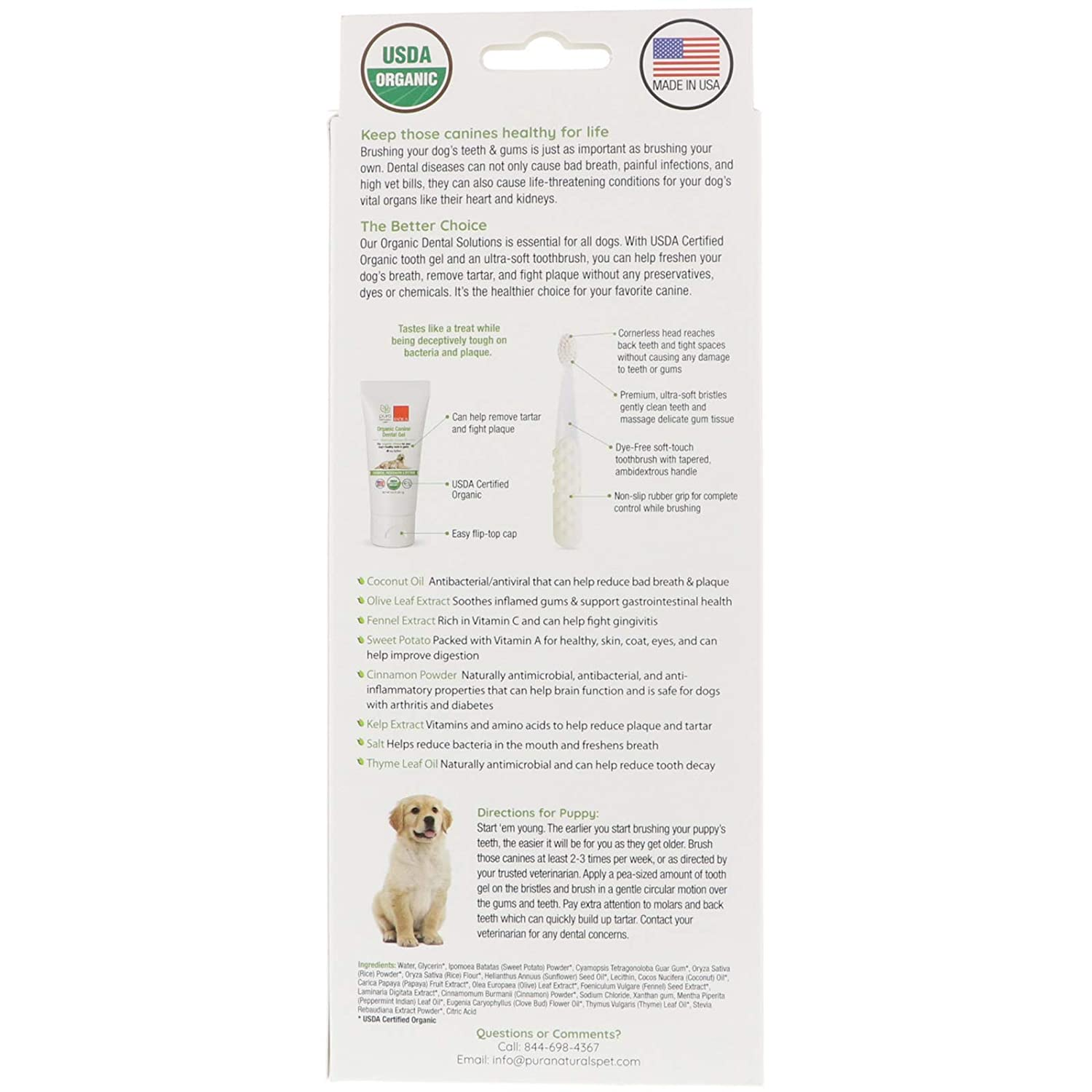 Radius Toothbrushes Organic Dental Solutions Puppy Kit, 1 Count: Amazon.es: Salud y cuidado personal