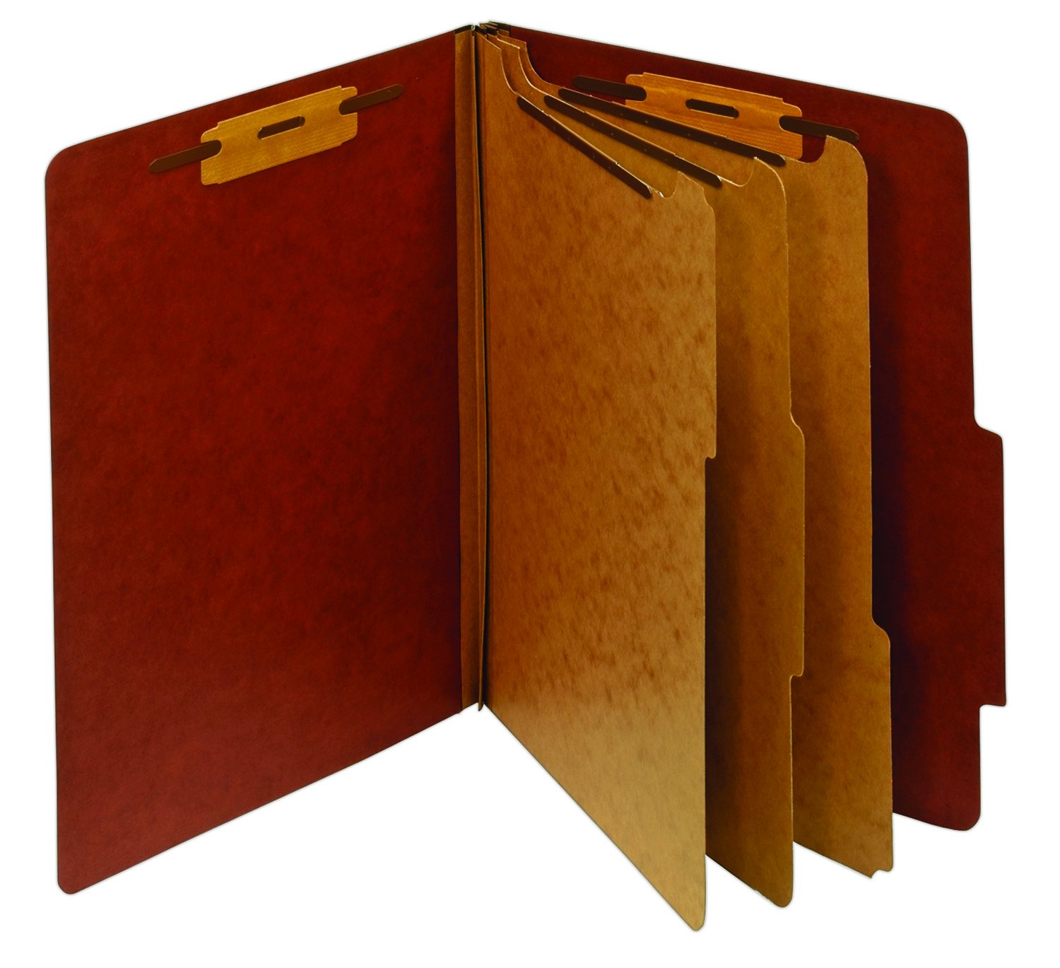 Staples Colored Pressboard Classification Folders, Letter, 3 Partitions, Red, 20/Pack