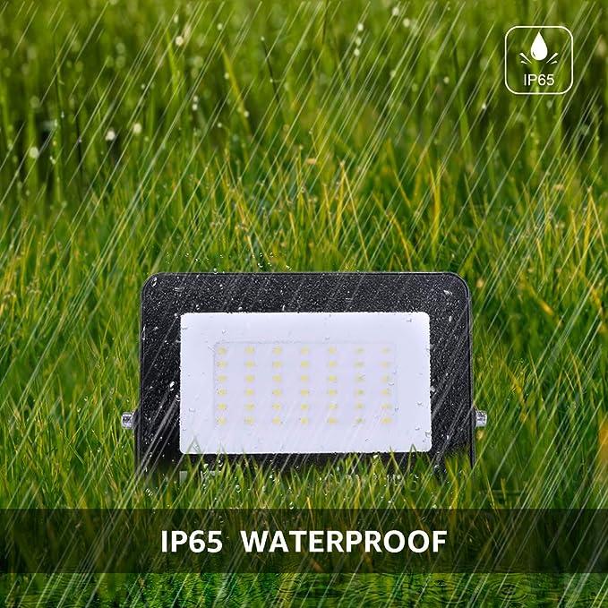 LE Foco LED de 30W, 3000 lúmenes, IP65 resistente al agua, Foco LED Exterior, Blanco Frío 5000 K, Ángulo de haz 120°, Foco Proyector LED para Jardín, Garaje, Hotel, Patio, etc. Paquete