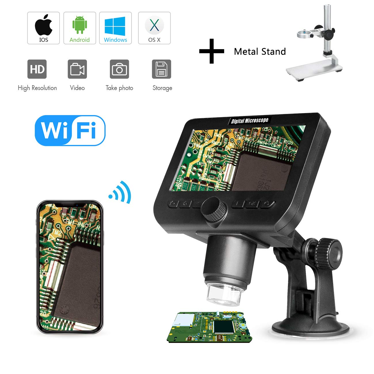 1000X LCD Digital Microscope, Bysameyee WiFi Wireless 4.3 Inch 1080P Portable Magnifier Zoom Camera with 8 LED Lights Rechargeable Battery for Coins Collection Repairing Soldering