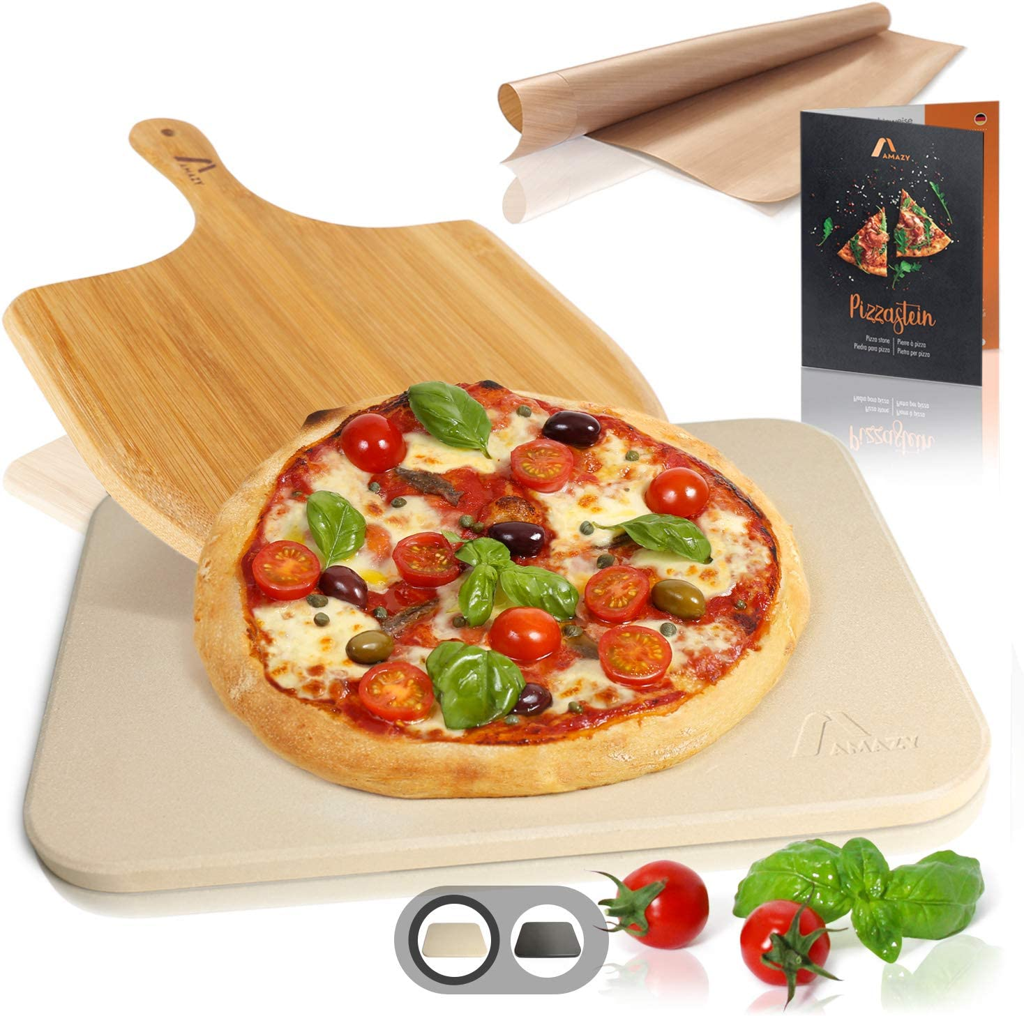 Amazy Pizzastein inkl. Bambus Pizzaschaufel