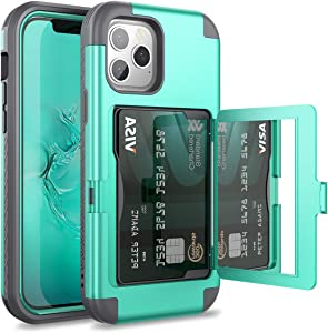 WeLoveCase for iPhone 12 Pro Max Wallet Case with Credit Card Holder & Hidden Mirror, Three Layer Shockproof Heavy Duty Protection Cover Protective Case for iPhone 12 Pro Max - 6.7inch Mint
