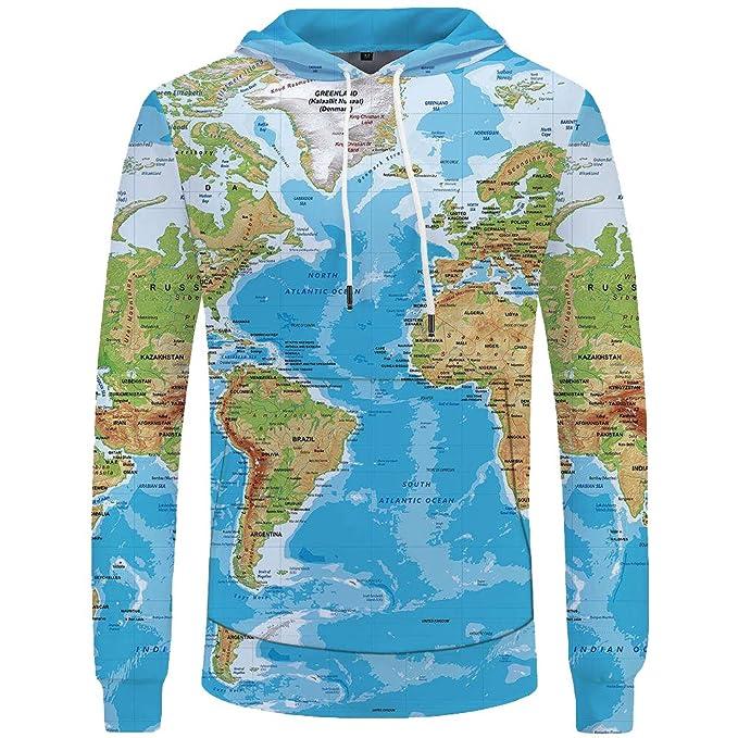 Amazon.com: ZFADDS World Map Sweatshirts Earth Sweat Shirt Funny