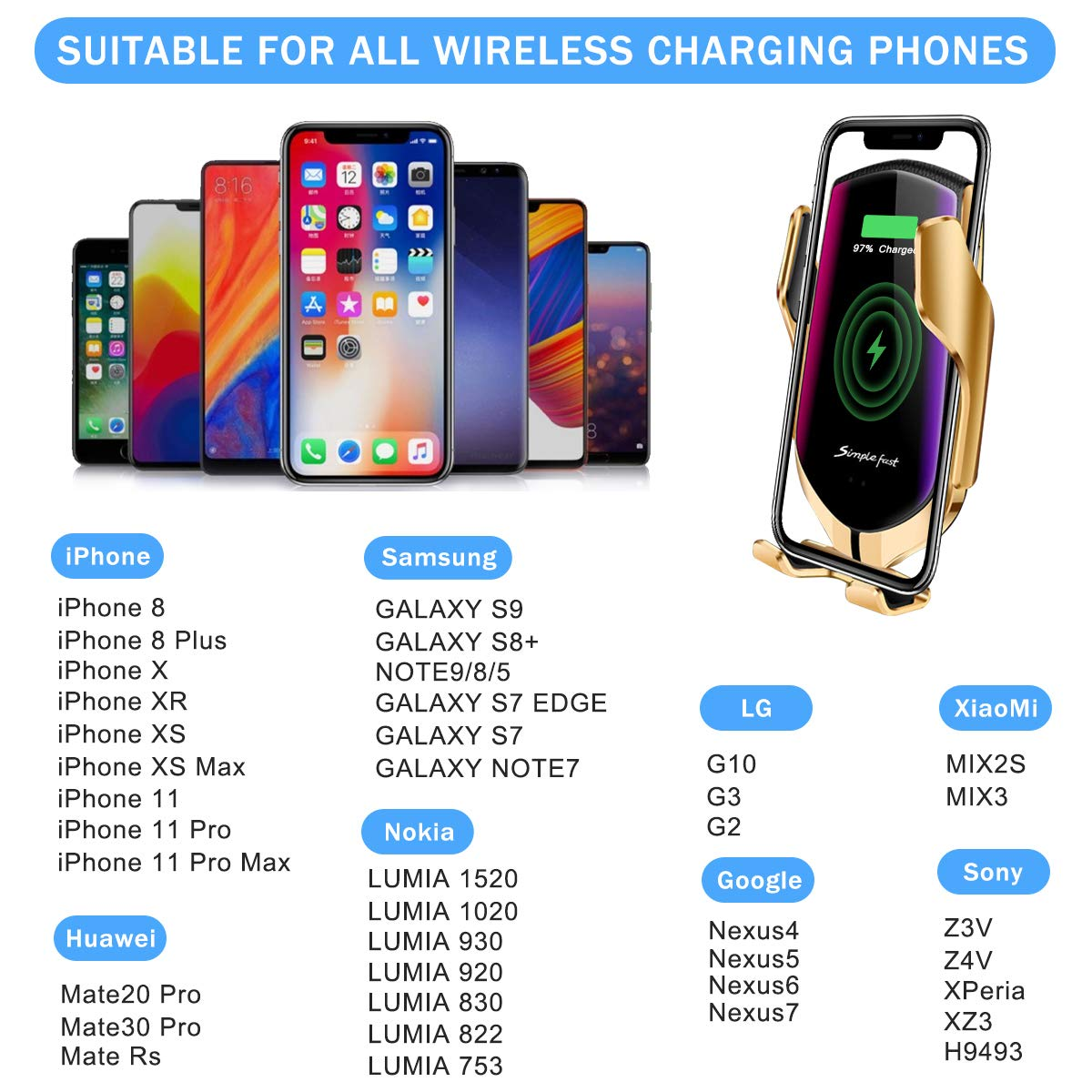 Wireless Car Charger Mount,Windshield Dash Air Vent Phone Holder Compatible iPhone 11//11 Pro//11 Pro Max//Xs MAX//XS//XR//X//8//8+,Samsung S10//S10+//S9//S9+//S8//S8+