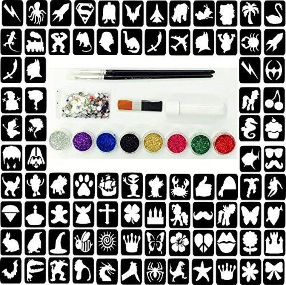 Glitter Tattoo Kit 22 - Princess And Super Hero 96 Girls And Boys Mini Stencils 8 Glitters Gems Glue NA