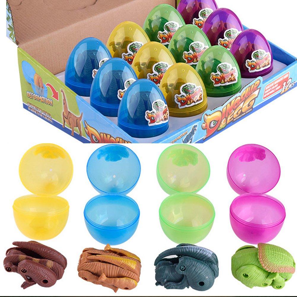 Dinosaur Magic Egg Toys, Deformation T-rex Parasaurolophus Brachiosaurus Triceratops Hatch Dinosaurs Toy for kids, 4 Colors, 12PCS