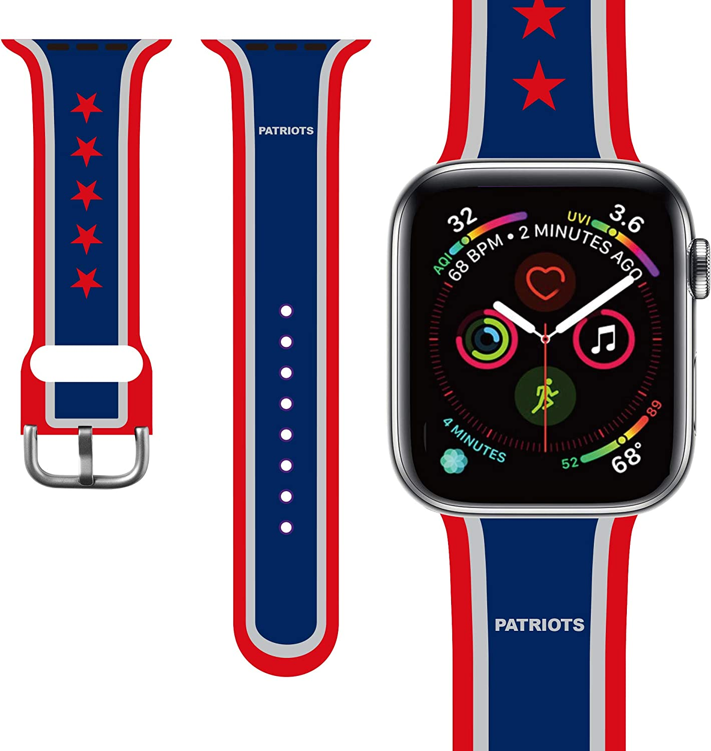 PlusYard Compatible for Apple Watch Band 38mm 40mm 42mm 44mm, Replacement Wrist Strap Compatible for iWatch Series 6/SE/5/4/3/2/1,Nike+,Sport,Edition, S/M M/L Size (Strip, 38mm/40mm)