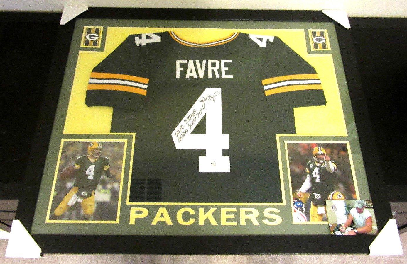 best website 3c446 b07e8 Brett Favre Signed Packers 35x 43 Custom Framed Jersey ...