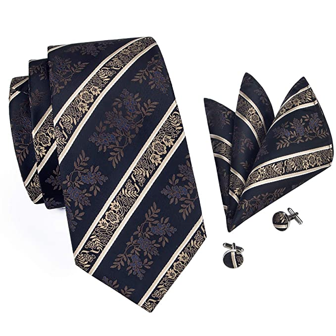 2e9e9b387d33 Amazon.com: Hi-Tie Men Black Brown Stripes Tie Handkerchief Necktie with Cufflinks  and Pocket Square Tie Set: Clothing