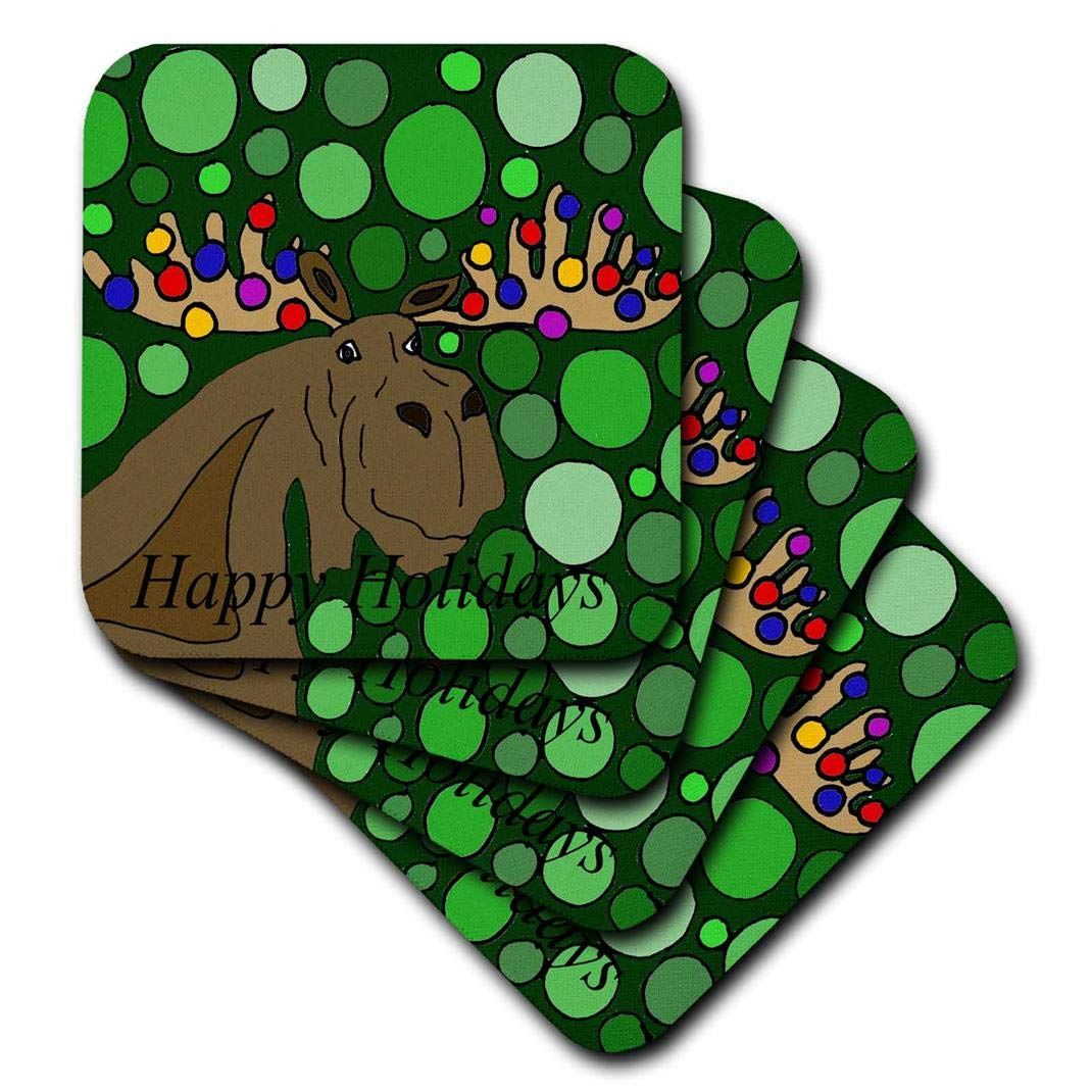 Set of 4 3dRose CST/_201769/_1 Fun Moose with Christmas Lights Christmas Abstract Soft Coasters,