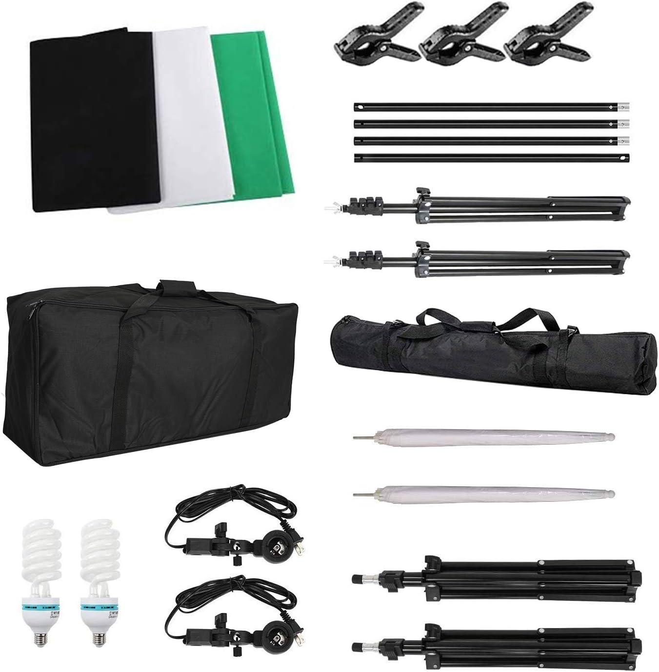 Studio Lighting Kit,6 x 9ft Backdrop Stand Kit with 3 Color Photo Backdrop and Softbox Lighting Kit Continuous Lighting Kit with Carry Bag for Photo Studio Product,Video Shooting