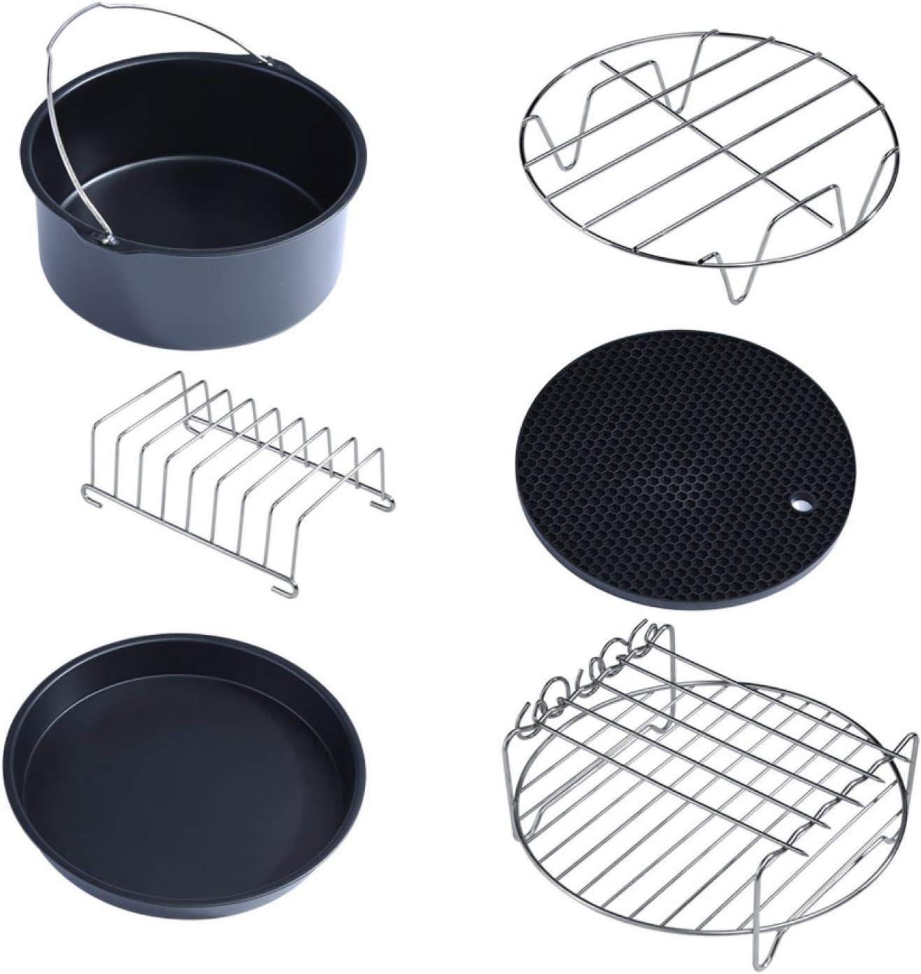 Omabeta 6 in 1 Multifunctional Air Fryer Accessories Set Kit Air Fryer Accessories Parts Metal Holder Skewer Rack Cake Barrel