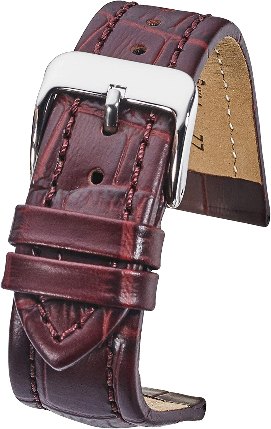 Alpine Genuine Padded Leather Watch Band in Alligator Grain Finish -Assorted 10 Colors in Sizes 18mm, 20mm, 22mm & 24mm