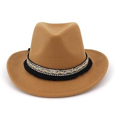 de5593f1 Spring Western Cowboy Men Wool Top Felt Vintage Hats Brown Red Fedoras Curl  Brim with Weave Ladies Fedora Hat at Amazon Women's Clothing store: