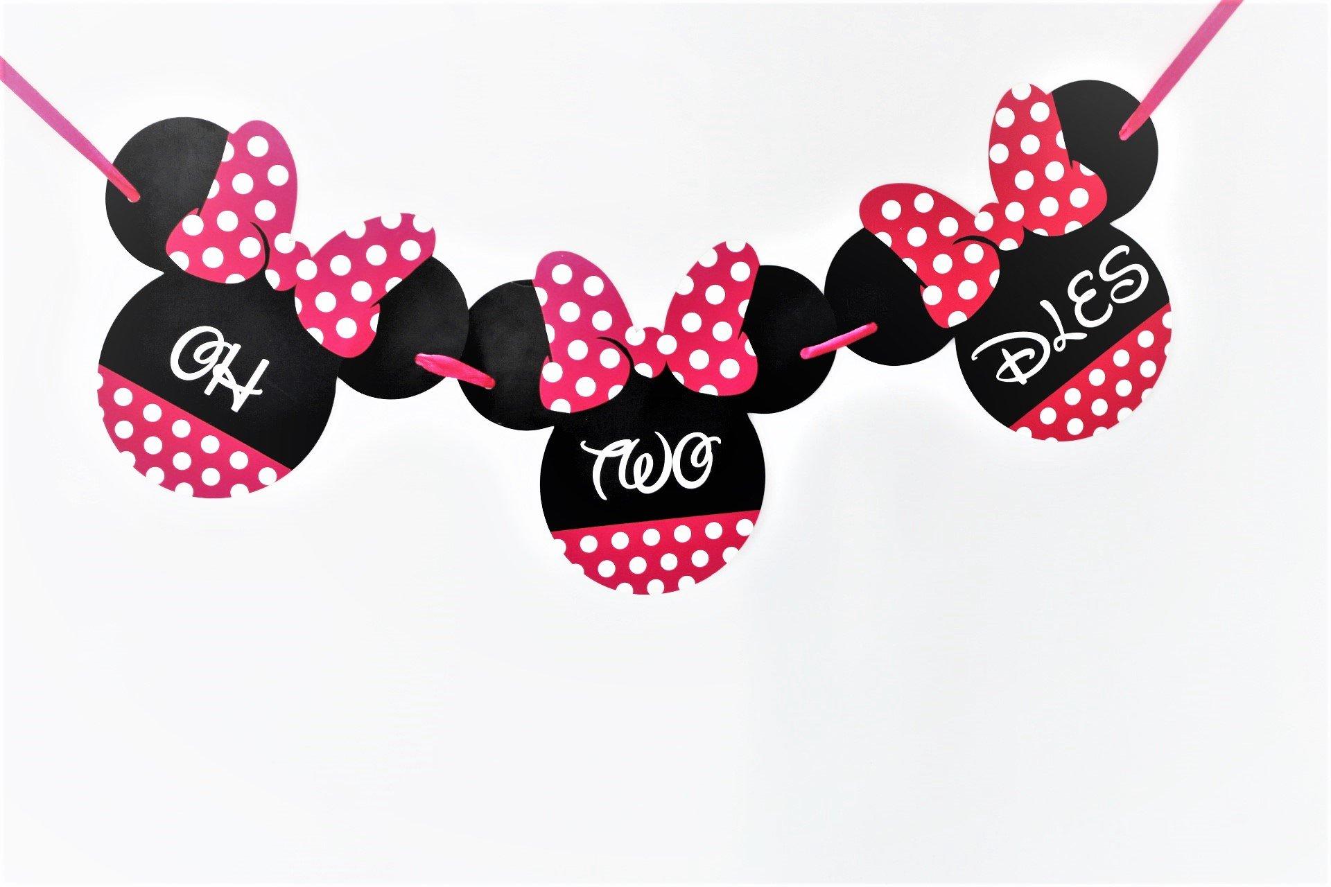 Minnie Mouse Birthday Banner - ONE Birthday Banner - OH TWO DLES! Minnie mouse party supplies - Minnie Mouse Theme Birthday Party Supplies - Minnie Mouse Party Decoration (Oh two dles banner) by Signatives