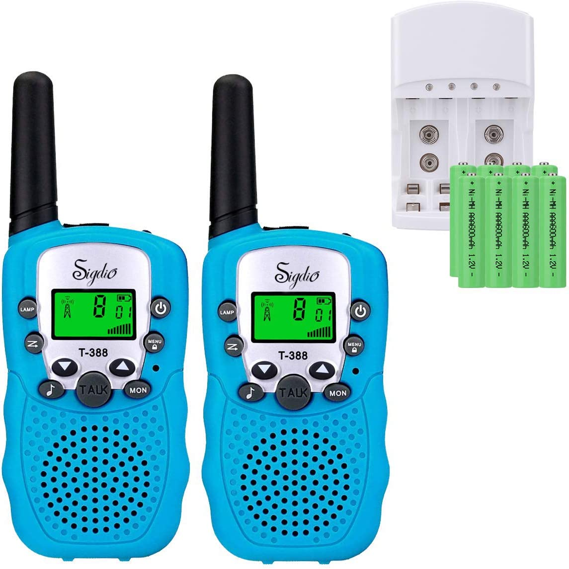 Sigdio Kids Walkie Talkies Rechargeable Walky Talky 22CH FRS 2 Way Radio Kids Toy with Multi-Charger Rechargeable Batteries VOX and Torch Blue, 8 rechargeable batteries