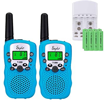 Sigdio Walkie Talkies Niños PMR446 con 8 Piezas Baterías Recargable y Cargador 8 Canales Función VOX LCD Pantalla 10 Tonos Linterna Incorporado Walky ...