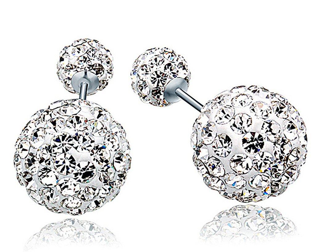 2Pairs Women Double Sides Pearl Earring Two Ball Stud Earrings Piercing  Ck+q