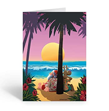 Beach Christmas Cards >> Amazon Com Tropical Sunset Christmas Card Beach 18 Cards And