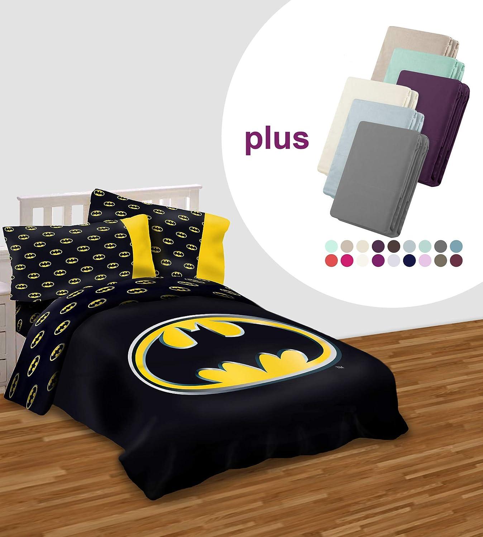 """JPI Batman Emblem Luxury 3pc Comforter Set Reversible Super Soft Queen Size 86""""x86"""" with Free 2pc Set 100% Cotton Pillow case 300 Thread Count (Total - 5pc Set)"""