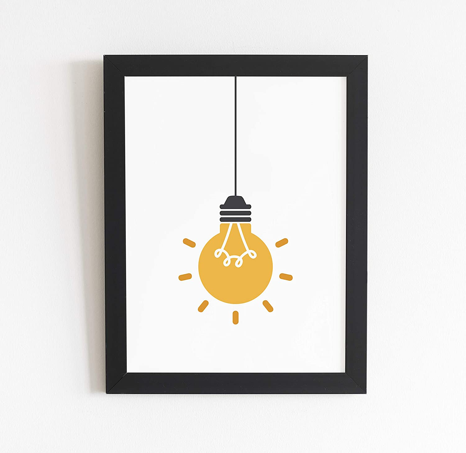 Office Wall Art Decor - Inspirational Light Bulb Wall Print Art | Home Office Decor | Gift Idea for Electrical Engineers, Electricians and Scientists | Modern Wall Poster | 8.5 X 11 Inch - Unframed
