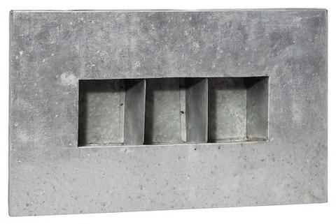 Aged Zinc 3 Pocket Wall Planter Silver - Evergreen : Target