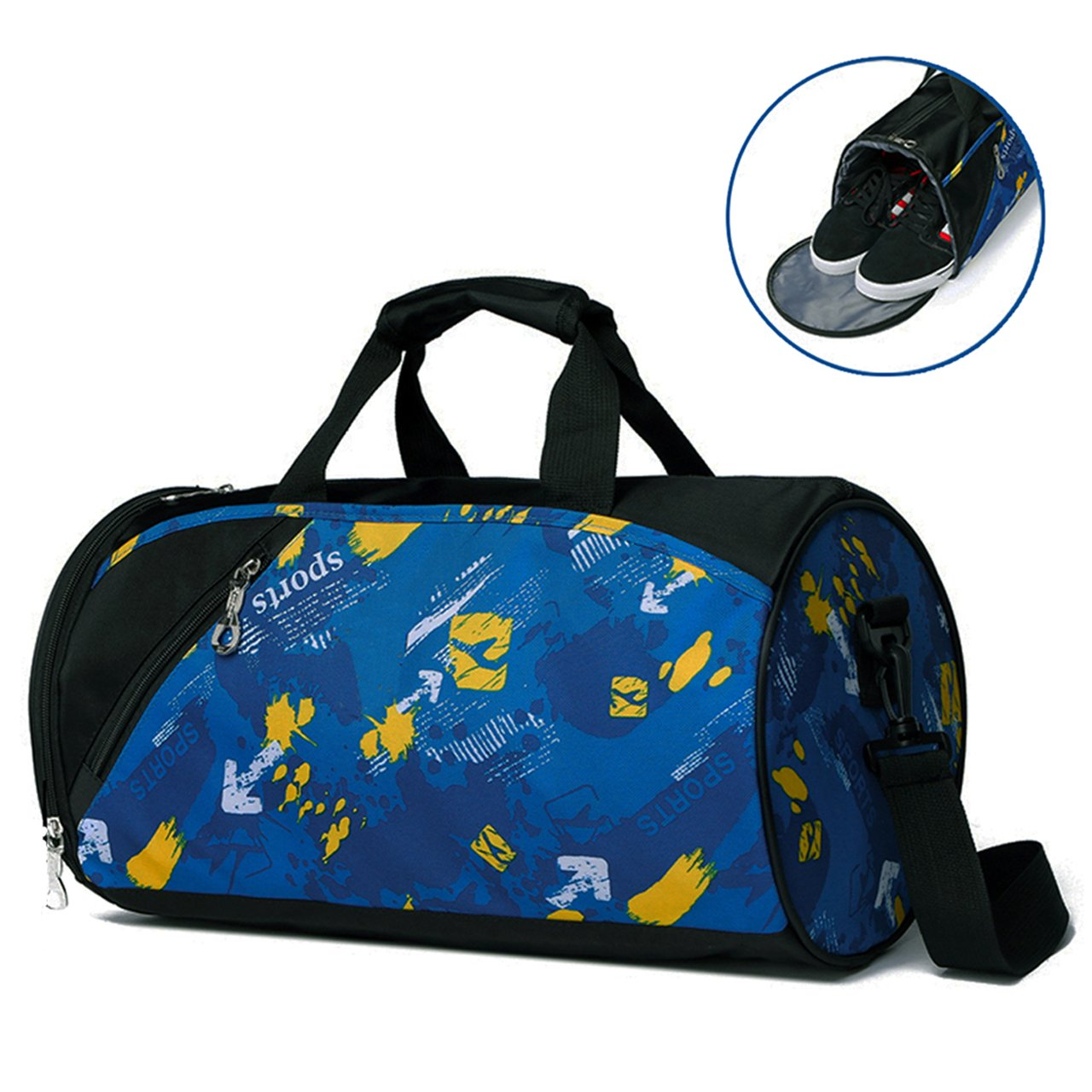 faletoキャンバススポーツダッフルバッグジムトートバッグwith Shoeコンパートメントフィットネスヨガ機器バッグ防水メンズ&レディース B07CSKB992 #3 Blue #3 Blue