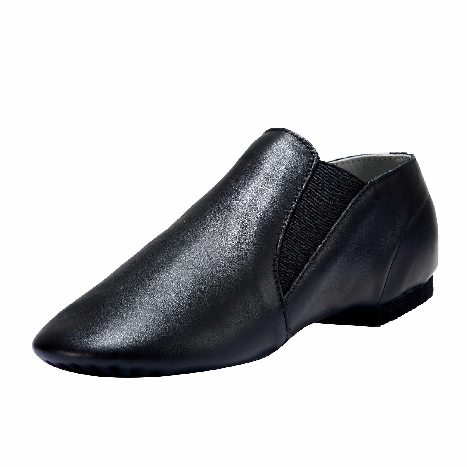Dynadans Women's Leather Upper Slip-on Jazz Shoe with Elastics Black 4.5M
