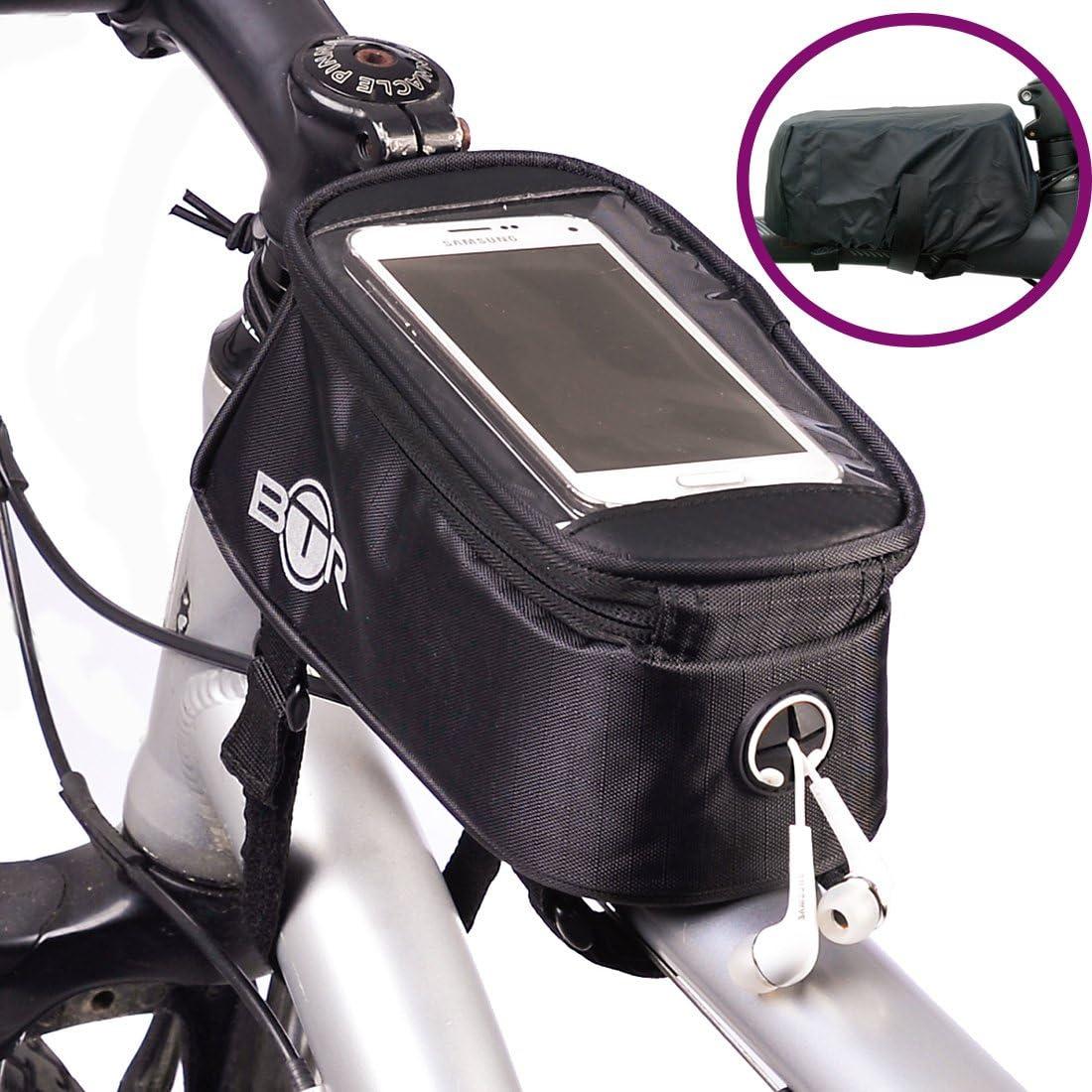 BTR - Alforja Bolsa Funda Móvil para Tubo Superior de Cuadro de Bicicleta - Impermeable. Pequeño 2ª generación: Amazon.es: Deportes y aire libre