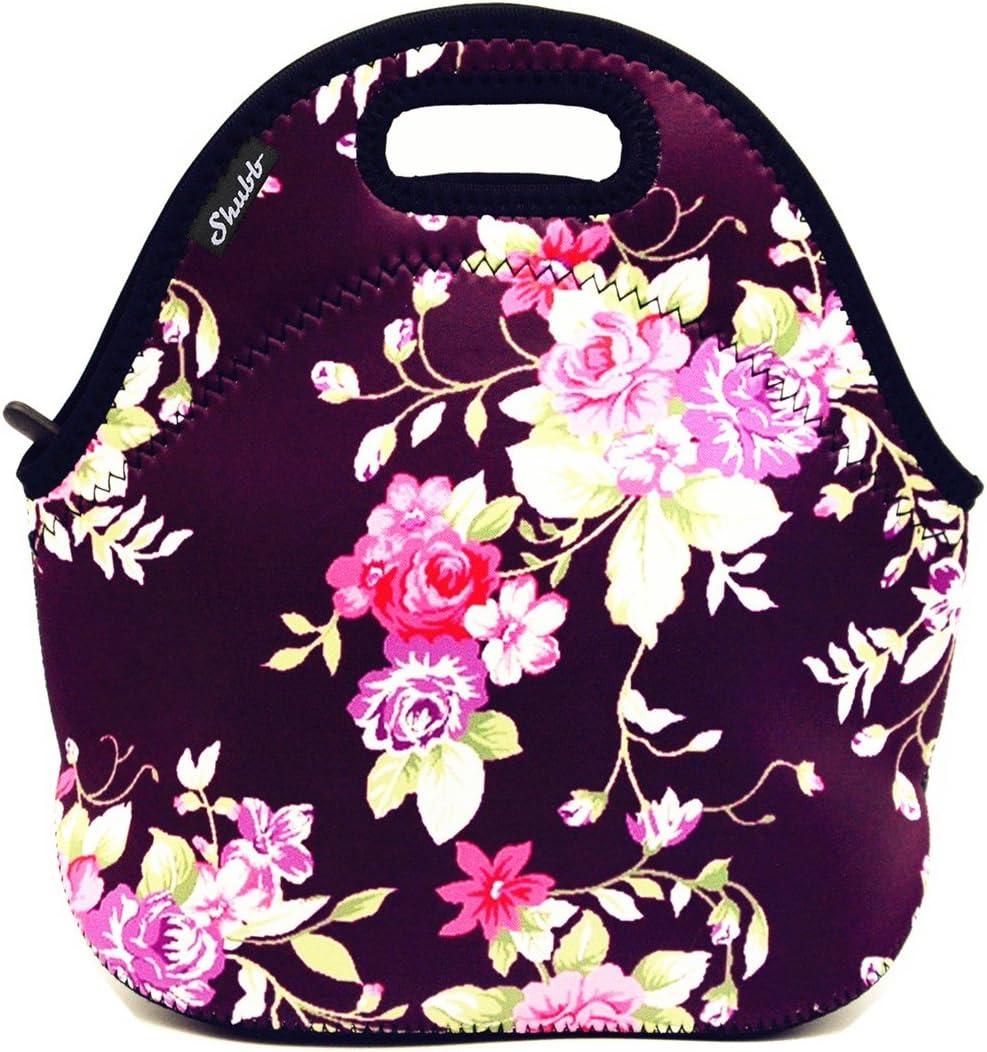 Shubb Lunch Bags, Insulated Lunch Bag, Neoprene Lunch Tote Boxes for Women Men Kids Boys Girls - Purple Flower