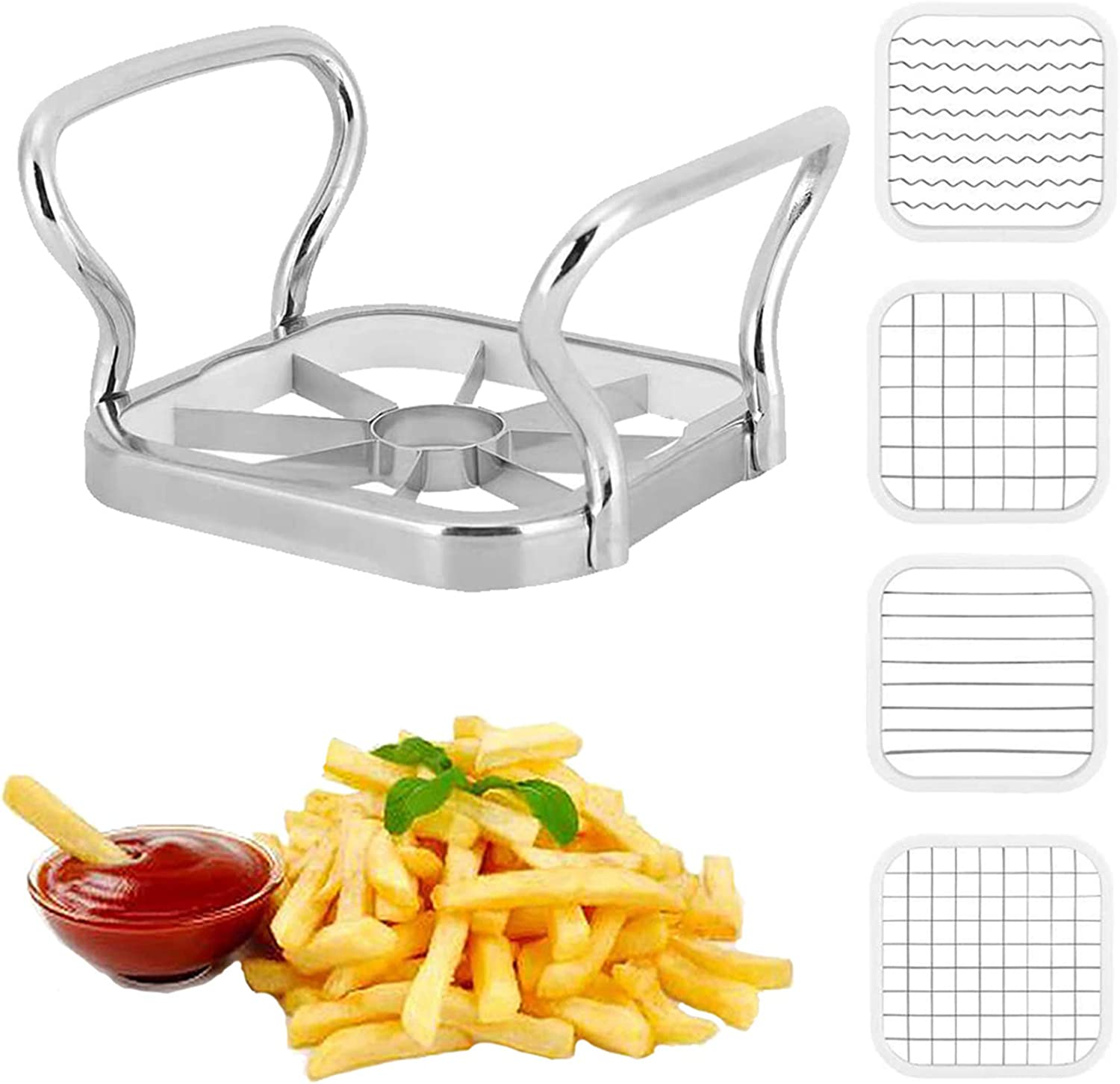 5 in 1 Potatoes Cutter with Thickened Sharp Blade Stainless Steel Potatoes Fruit Vegetable Cutter Chipper Chopper