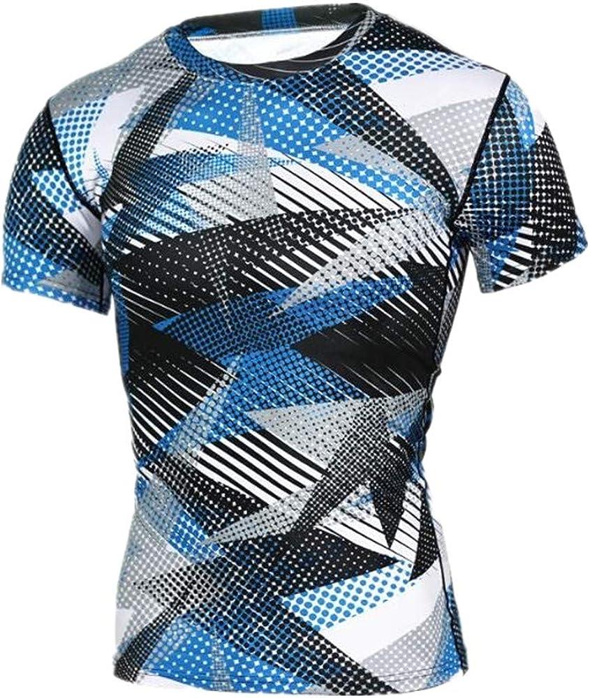 Camisetas Medias Deportivas Correr Entrenamiento De Fútbol Camuflaje Impreso Manga Corta Elástica Camiseta Seca para Hombre S Azul: Amazon.es: Ropa y accesorios