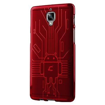 CruzerLite OnePlus 3/3T caso, cruzerlite Bugdroid Circuit – Carcasa de TPU para OnePlus tres/OnePlus 3/3T – Paquete al por menor – Rojo