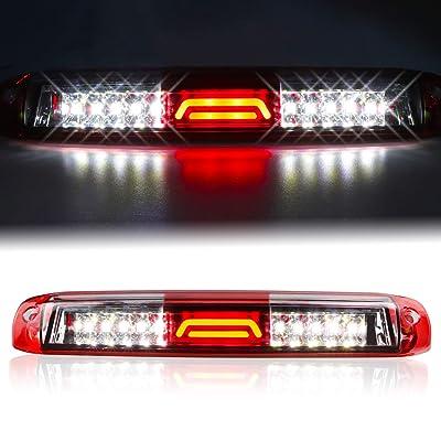 for 99-07 Chevrolet (Chevy) Silverado GMC Sierra 1500 2500 3500 HD Classic, LED Third 3rd Brake Light Rear Cargo Lamp High Mount Stop light Chrome Housing (Red): Automotive [5Bkhe0111456]