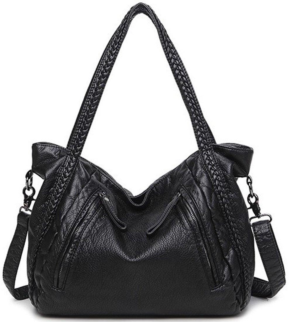 Kenoor Soft PU Leather Handbag Shoulder Bag Top Top Handle Bags Satchel for Women (Large Size, Black)