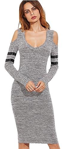 Moda con scollo profondo con spalle scoperte a Maniche Lunghe Rigato Knit Longuette Bodycon Aderente Fasciante Dress Vestito Abito grigio S
