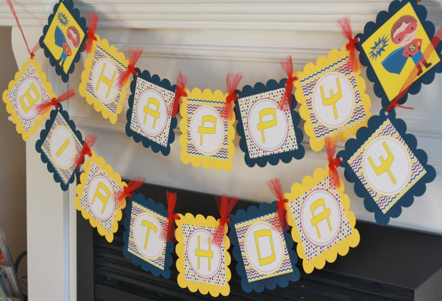 Matching Cupcake Toppers Tags Place Cards /& Door Sign Available Superhero Super Hero Happy Birthday Boys Yellow Red Navy Chevron Banner