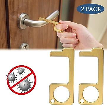 herramienta de cierre para puerta con gancho para mantener las manos limpias Abridor de puerta de lat/ón sin contacto