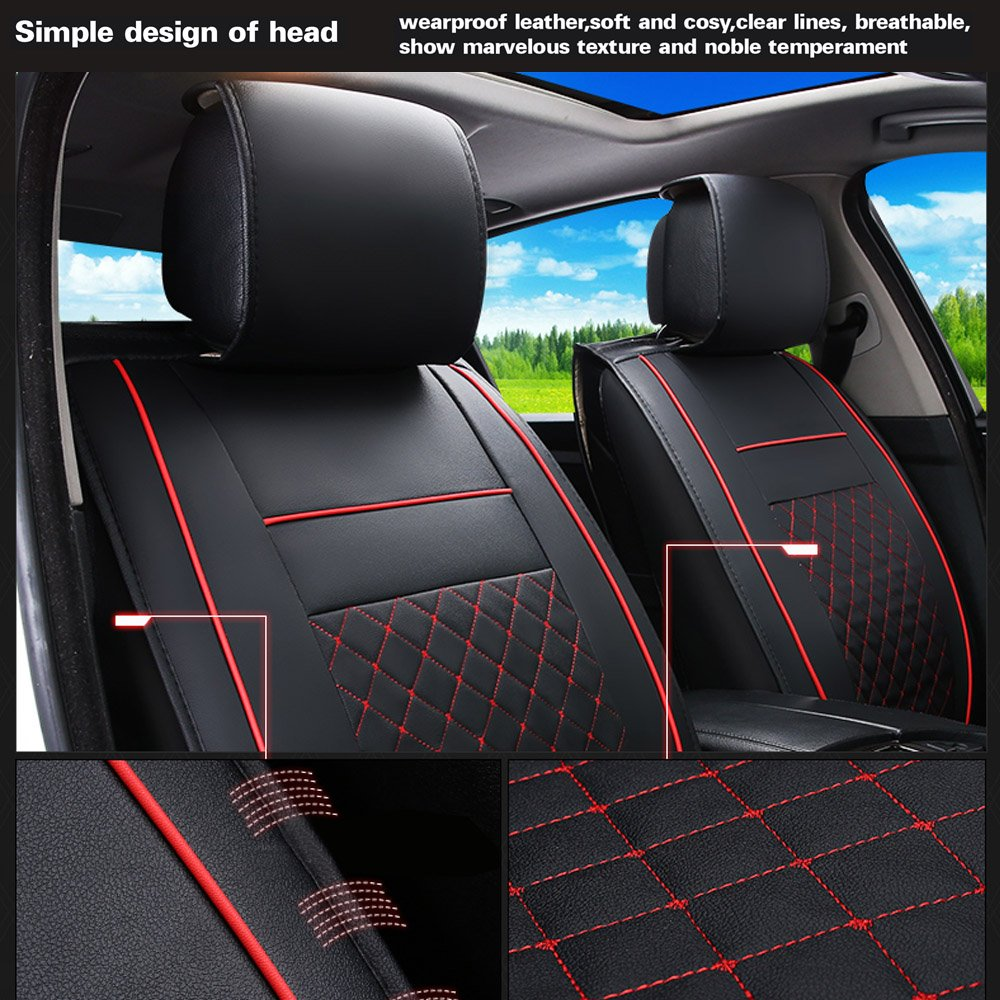 Amazon Fly5D 2Pcs Front Seats Cover Easy To Clean PU Leather Car Seat Cushions Universal Fit Covers Black White