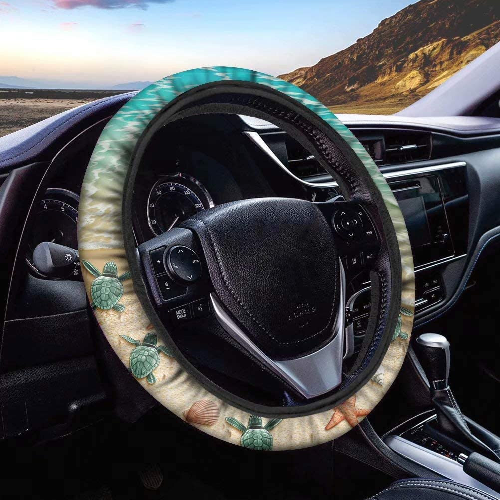 UNICEU Colorful Tie Dye Swirl Design Car Steering Wheel Cover Universal 15 Neoprene Automotive Steering Wheel Protectors Anti Slip and Sweat Absorption Auto Car Wrap Cover