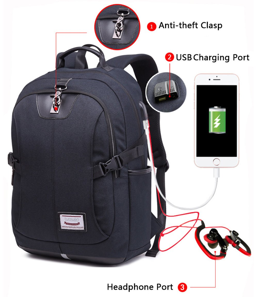 Laptop Backpack School College Bookbag for Men Travel Business Computer Bag with USB Charging Port Anti Theft Clasp and Headphone Port Black Plus
