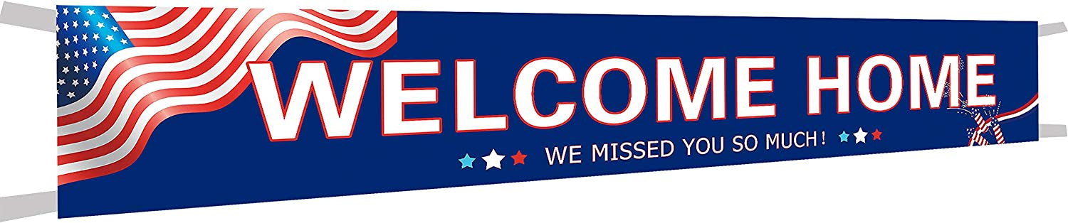 Large Welcome Home We Missed You So Much Banner, Welcome Home Bunting Banner, Homecoming Party Supplies