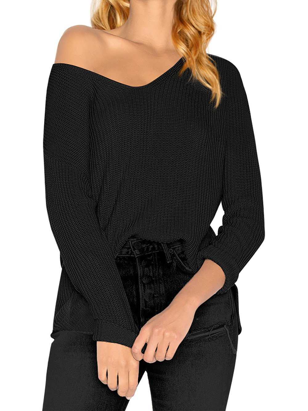 HENCY Women's Long Sleeve Knitted Pullover Loose V Neck Sweater Casual Jumper Tops Black