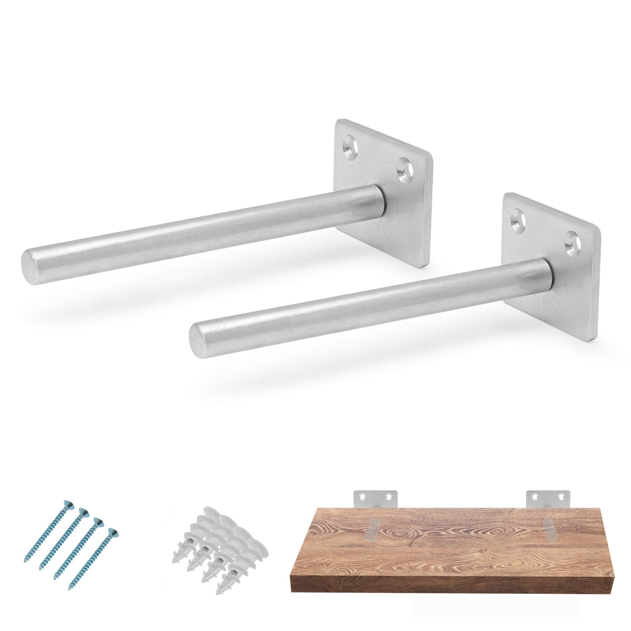 Solid Steel Floating Shelf Bracket (2 pcs Galvanized) - Blind Shelf Supports - Hidden Brackets for Floating Wood Shelves - Blind Shelf Support – Screws and Wall Plugs Included (Shelf NOT Included)