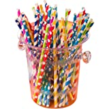 Paper Straws Set of 60 Paper Drinking Straws Multi Brights Color, 100% Biodegradable