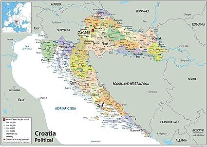 Cartina Della Slovenia E Croazia.Croazia Mappa Politica Carta Plastificata A0 Size 84 1 X 118 9 Cm Amazon It Cancelleria E Prodotti Per Ufficio