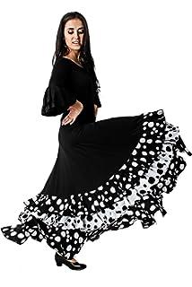 ANUKA Traje de Baile Flamenco para Mujer Mod.Gitana, (M ...